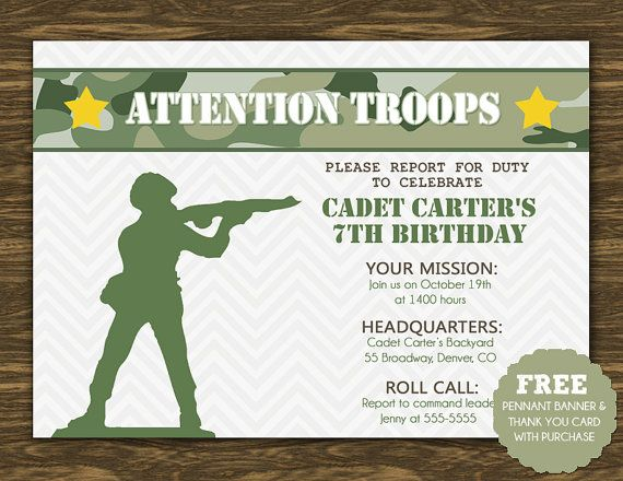Army Birthday Invitation Printable FREE pennant banner and – Army Birthday Cards