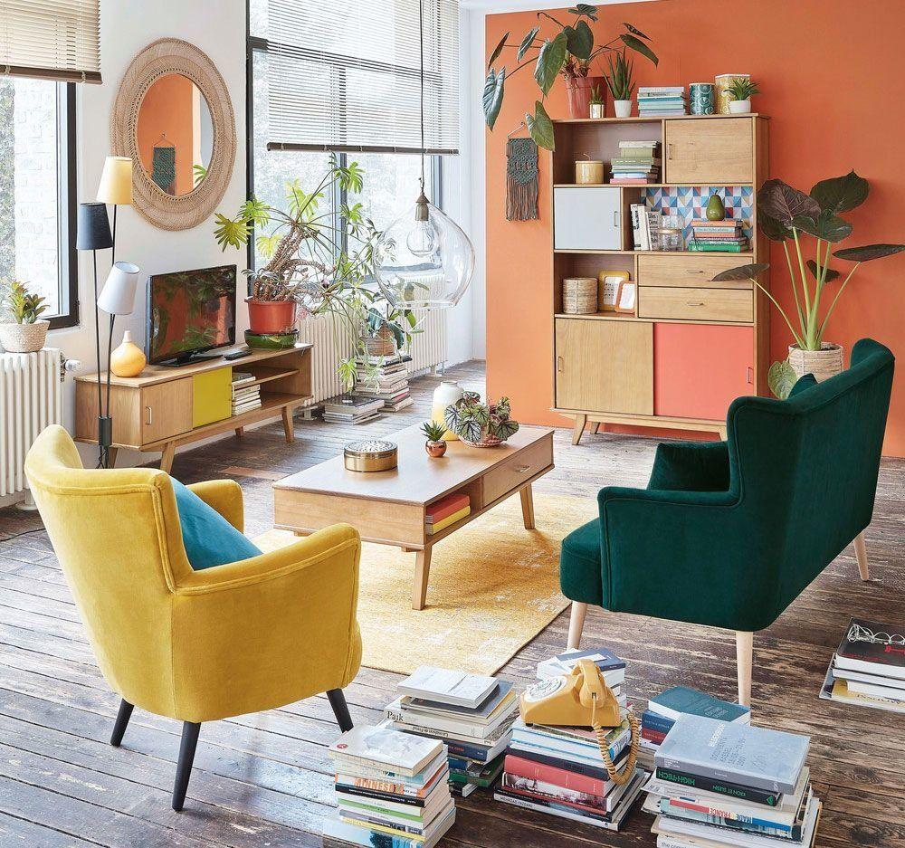 Deco Jaune Et Vert salon scandinave,vintage jaune,orange,marron,beige,vert bois