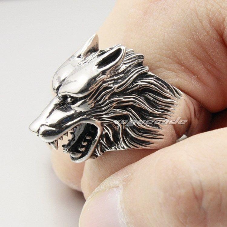 Werewolf Grinning 316L Stainless Steel Wolf Ring 2P001XG Mens Biker Ring #Unbranded #BikerRocker