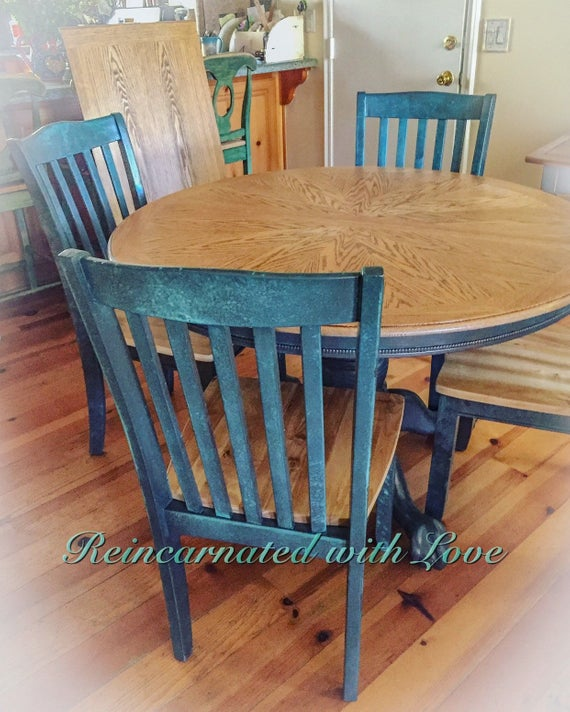 Farmhouse Table Extendable Dining Blue Kitchen