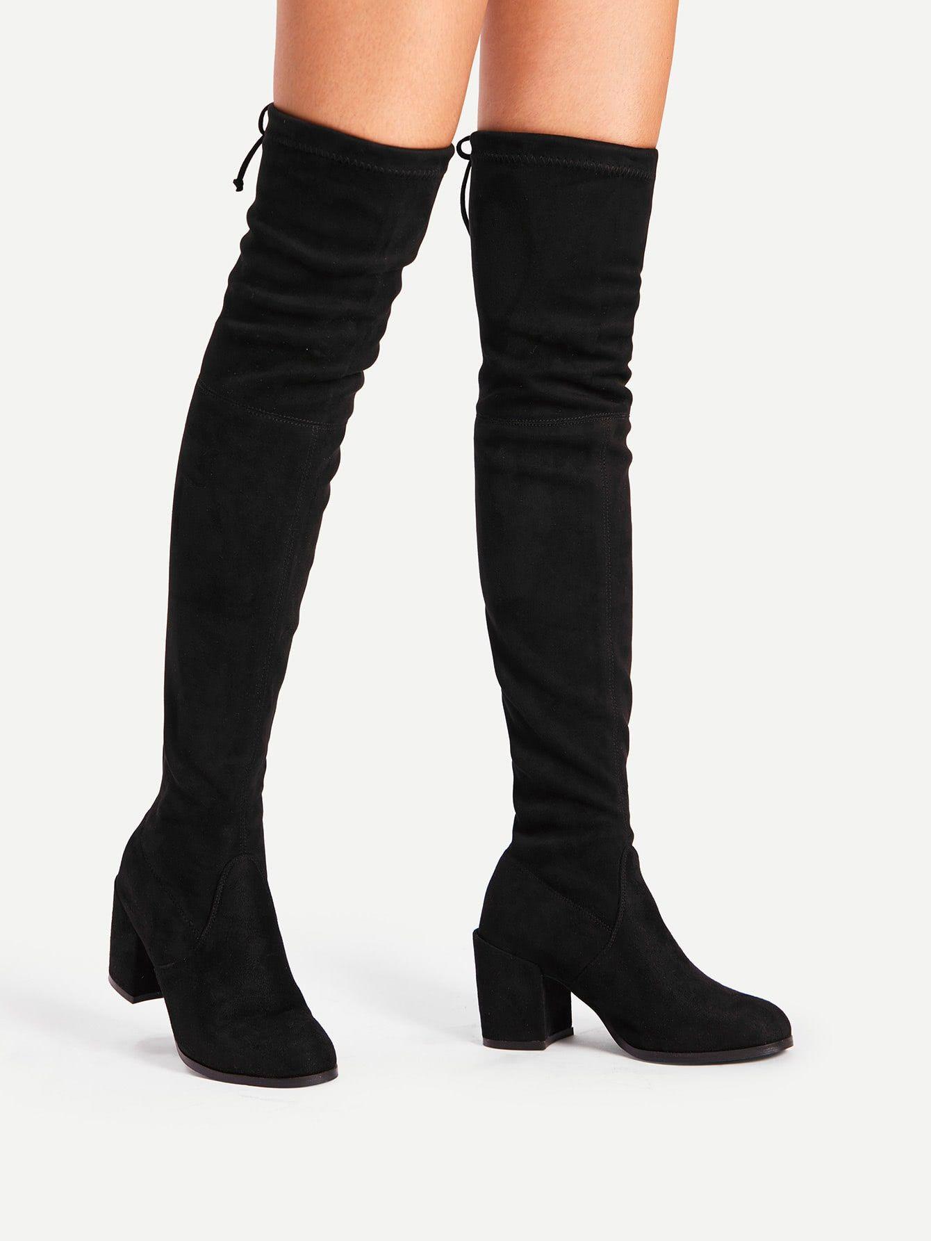 Elegant Almond Toe Otk Thigh High No Zipper Black Mid Heel Chunky Tie Back Over Knee Block Heeled Boots Block Heel Boots Black High Boots Boots