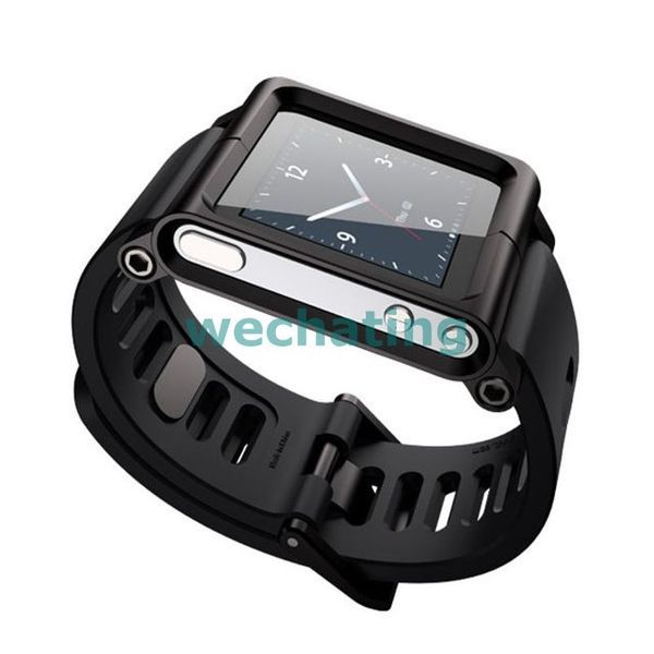 Black aluminum Silicone Mix Multi-touch Watch Band for ipo