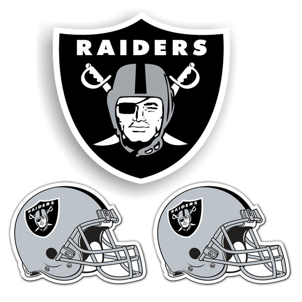 Oakland Raiders Nfl Ultimate Car Magnet Kit 3pc Set  With