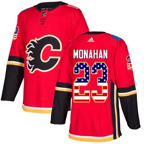 Adidas Flames  23 Sean Monahan Red Home Authentic USA Flag Stitched NHL  Jersey d9d94ea883e2