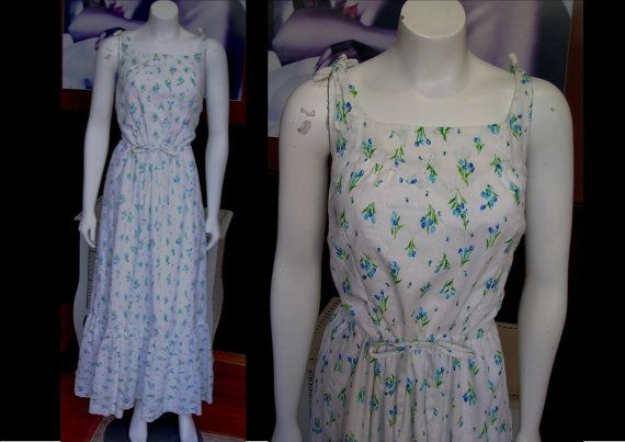 Vintage 1970s Long White Calico Eyelet Blue Tulip Floral Maxi Dress Prairie Dress Hippie Dress Larger Size by WestCoastVintageRSL, $38.00