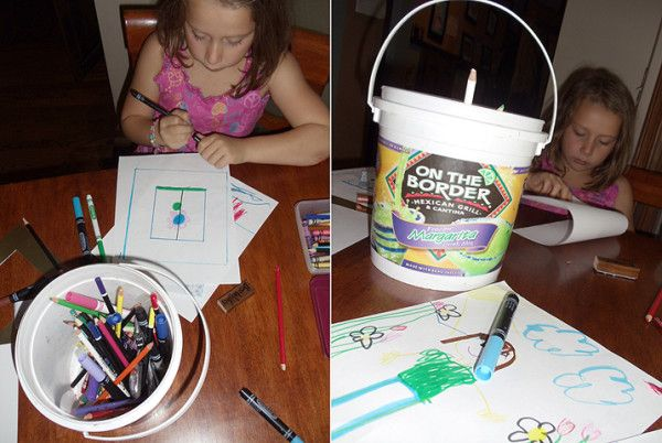 Margarita Mix + Consumption = Xcellent Crayon Holder!!! (& the bright colors are a bonus!) (by, Mom)