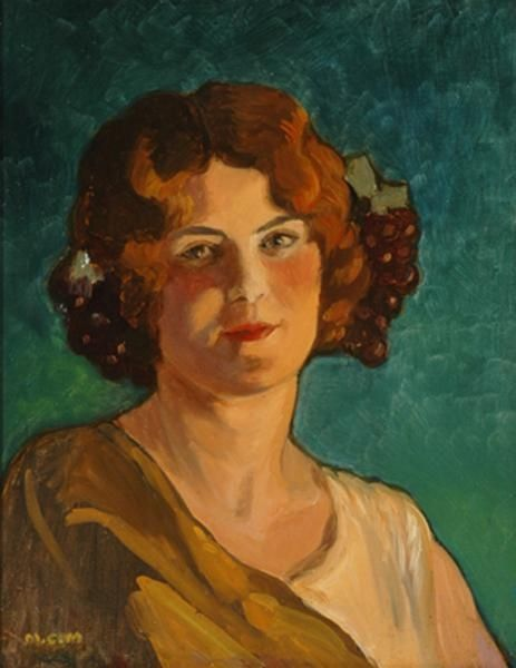 Claudina James nee Callaway 1906-1964 by her sister Marguerite Henriette Mahood nee Callaway. Portrait of her sister done in 1920's. Grandmother of Elizabeth Ann Curtain nee James.