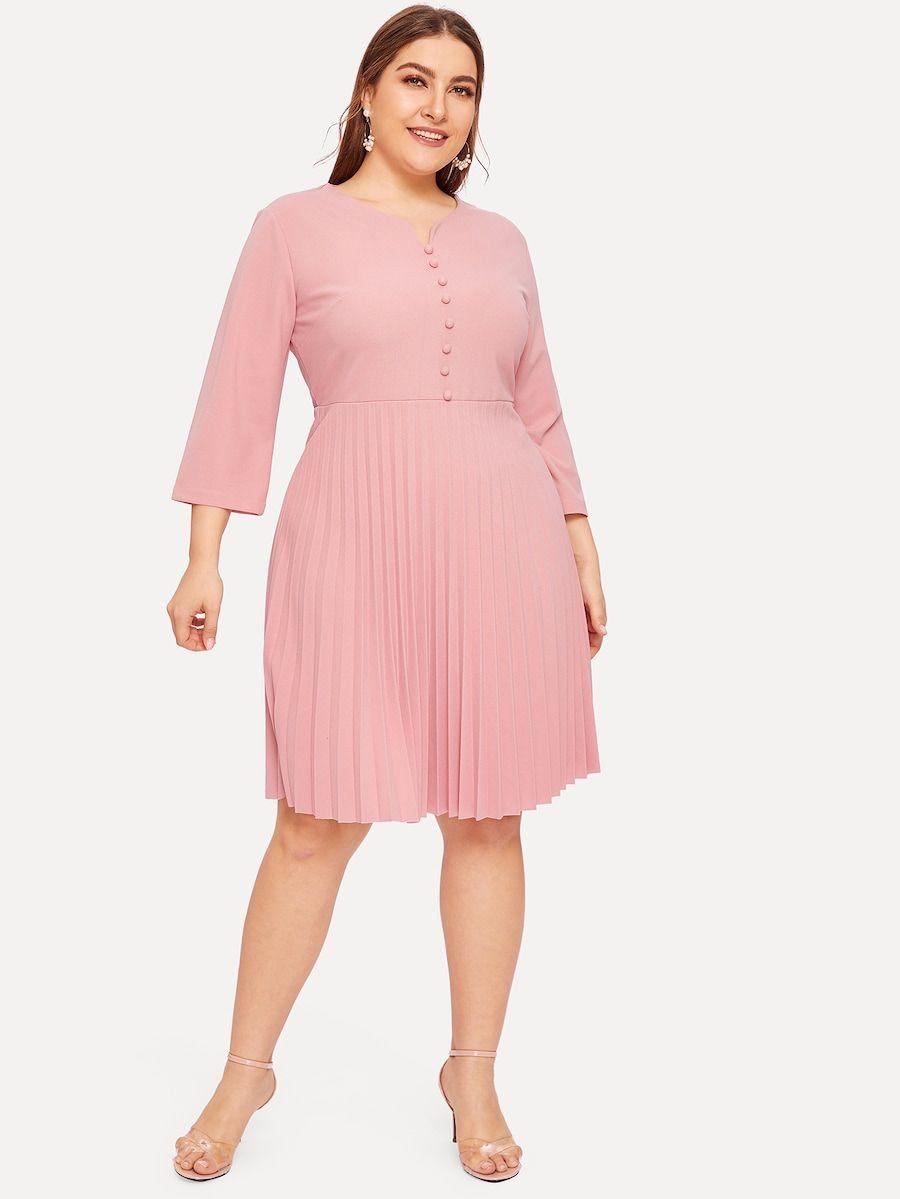 Plus Zip Back Pleated Dress Shein Sheinside Bridesmaid Dresses Plus Size Pleated Dress Curvy Girl Fashion [ 1199 x 900 Pixel ]