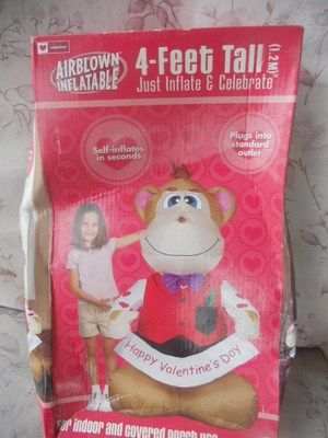 GEMMY VALENTINES DAY MONKEY HAPPY VALENTINES DAY 4u0027 AIRBLOWN INFLATABLE BNIB