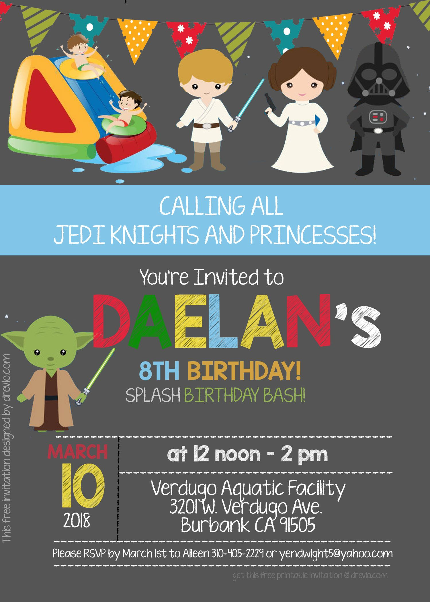 Get FREE Star Wars Pool Party Invitation Template