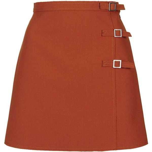 TOPSHOP Raw Edge Buckle A-Line Skirt (545 DKK) ❤ liked on Polyvore featuring skirts, mini skirts, orange, orange mini skirt, orange skirt, a line skirt, brown mini skirt and brown skirt