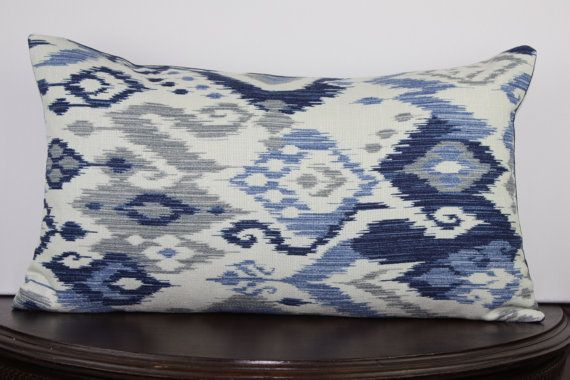 Large Off White Throw Pillows: Ikat Navy, Off White, Steel Blue, Gray 12x20 Lumbar