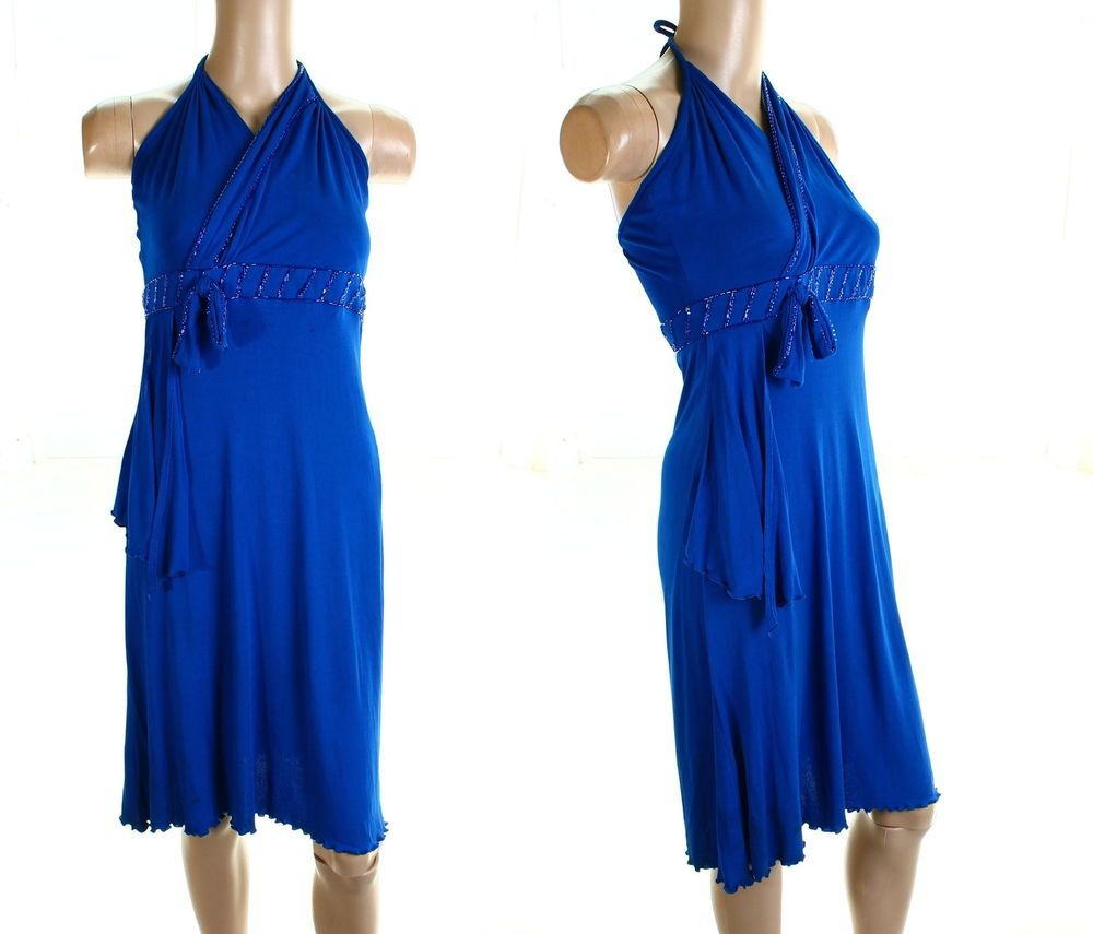 80s Vintage Leshgold Blue Halterneck Dress US 8 10 #Leshgold #Party