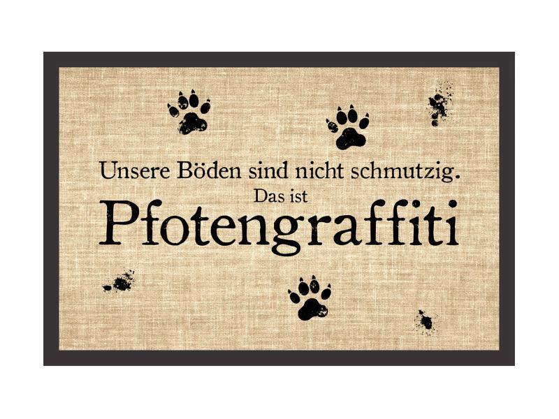 Schön Shabby Fußmatte Türmatte PFOTENGRAFFITI Hund Hundematte Fußabtreter Pfoten