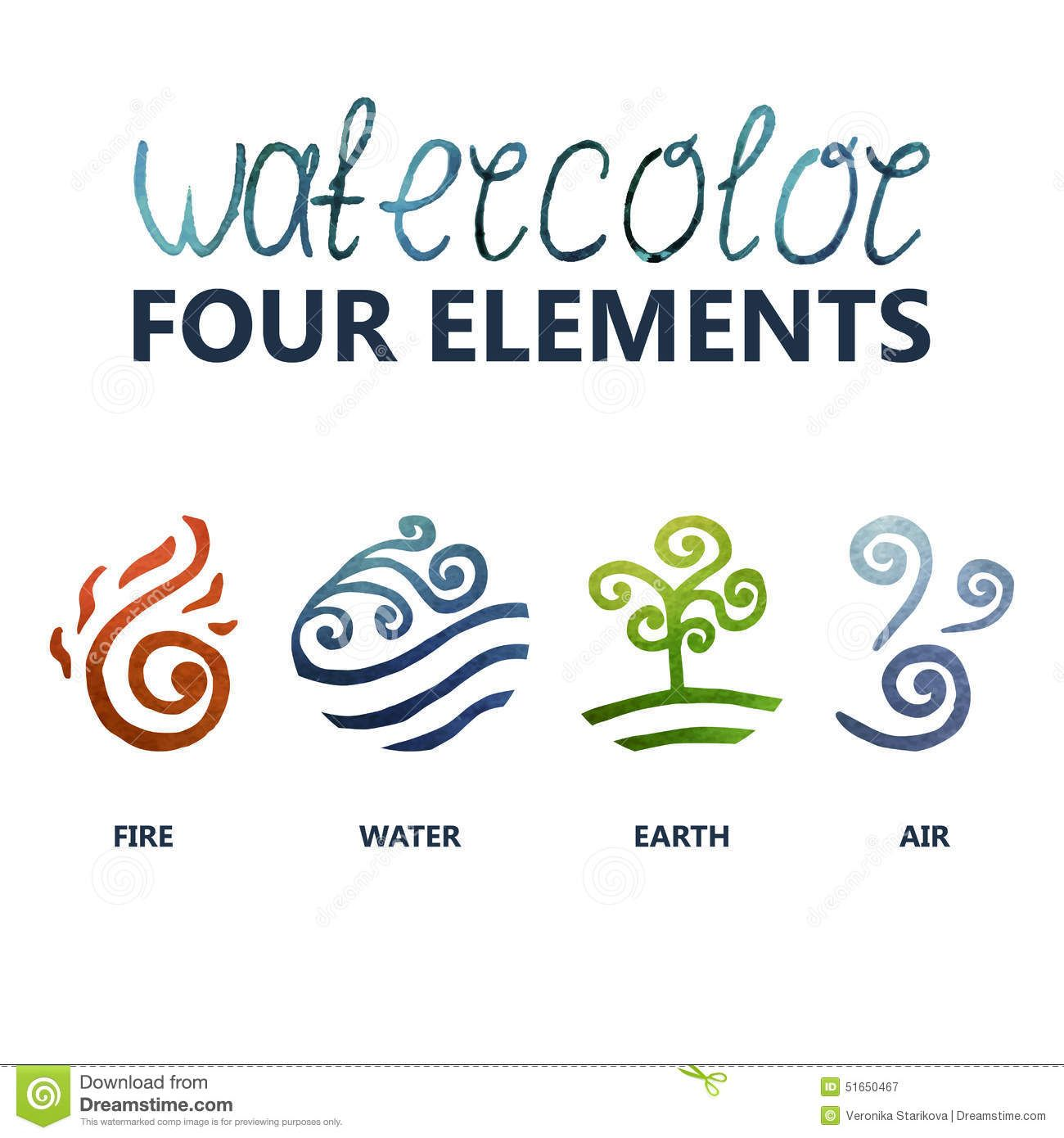Illustration About Four Elements Watercolor Fire Water Earth