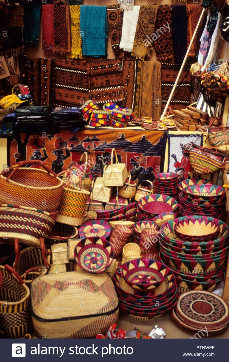 Ouagadougou Burkina Faso Vendor S Stand Selling Baskets Fabric