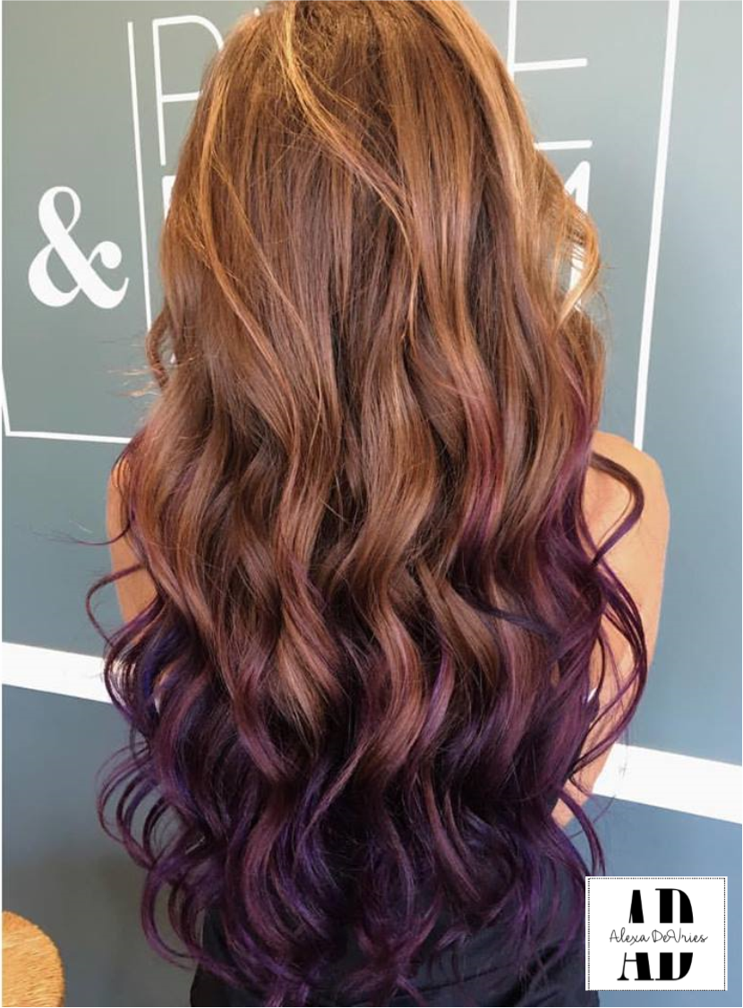 Beautifully Curled Purple And Brown Hair Balayaged Through Ends To Blend Hair Dye Tips Brown Blonde Hair Purple Ombre Hair