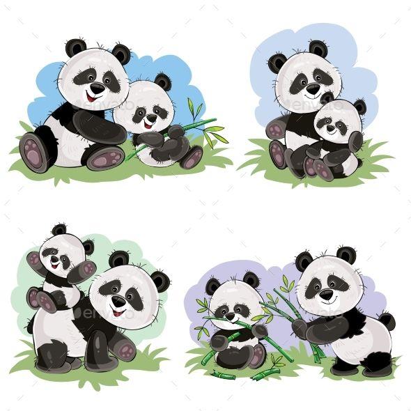 Vector Cartoon Set Of Panda Bear Characters Cute Panda Drawing Cute Panda Baby Cute Panda