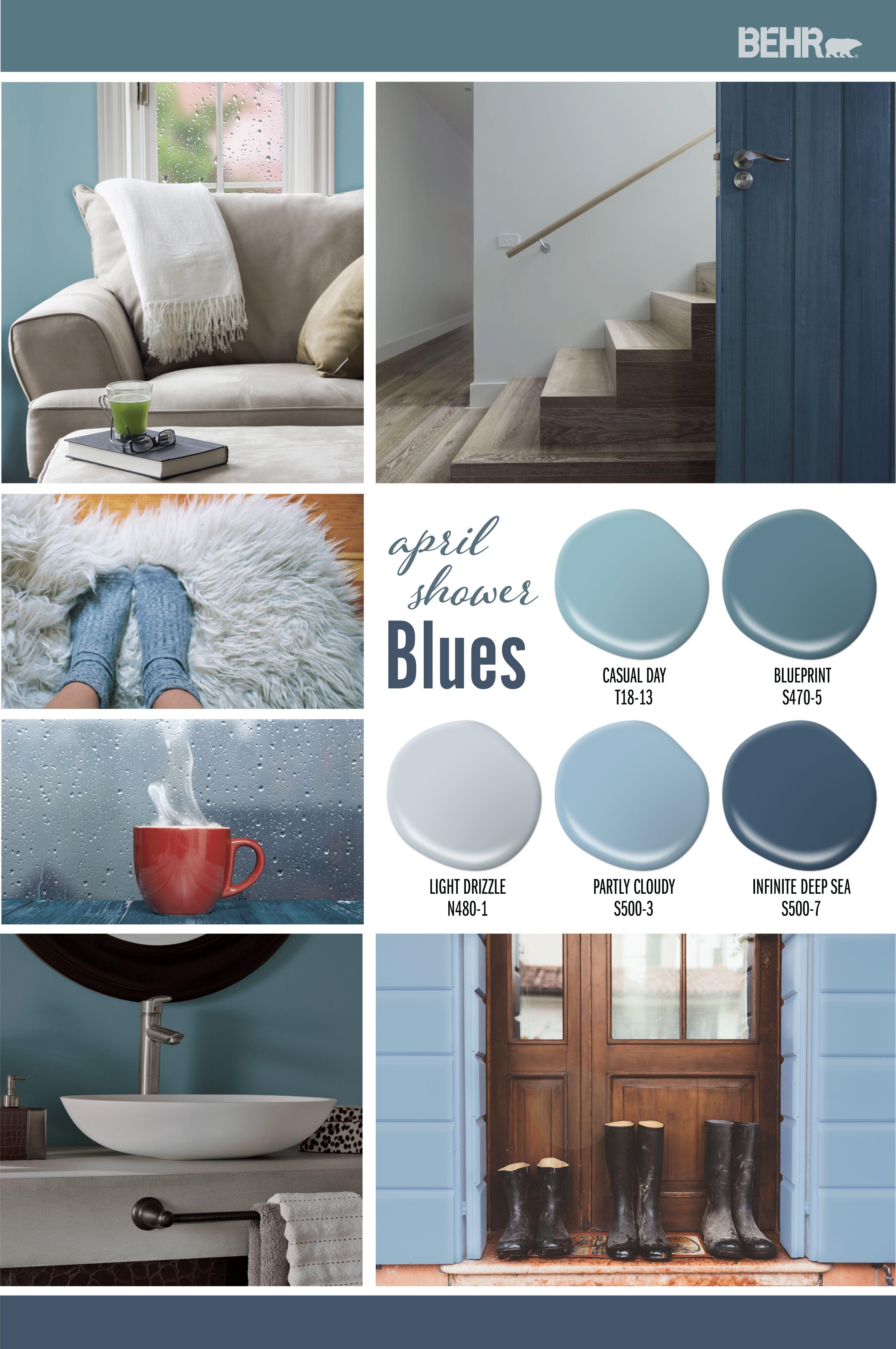 April Shower Blues Color Collection Colorfully Behr Bathroom Paint Colors Warm Blue Paint Colors Popular Paint Colors