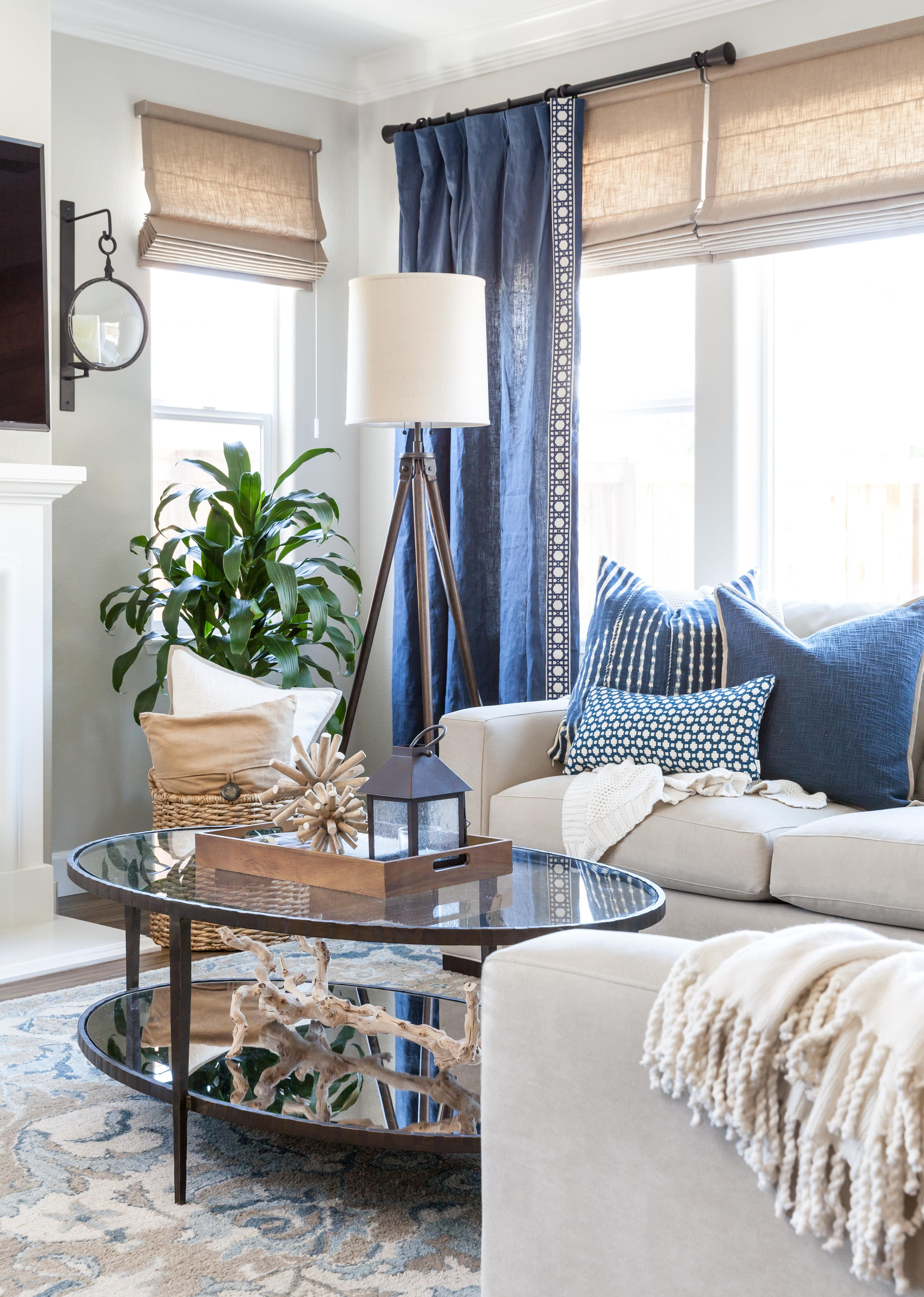 Grey White And Blue Living Room Coastal Family Room Blue And White Pillows Gray Walls Roman