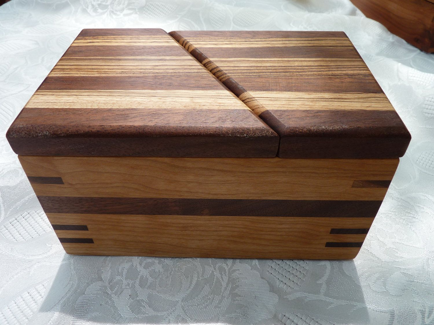 Handcrafted wood jewelry boxes - Handcrafted Wooden Jewelry Keepsake Box In Cherry With Swivel Top Lid In Walnut And Zebrawood