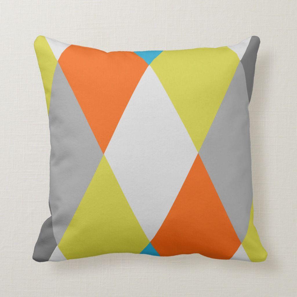 Yellow Gray Orange Blue Modern Geometric Pattern Throw Pillow Yellow Gray Orange Blue Modern Geometric Pattern Throw Pillow Orange Things orange rgb