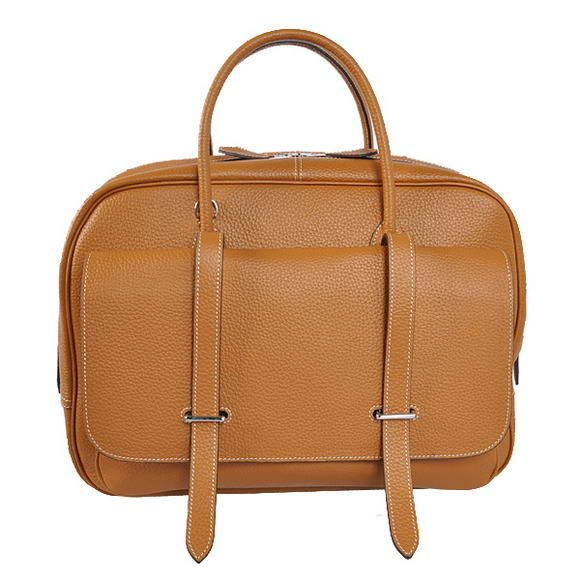 fb01a44f77fa Cheap Replica Hermes Steve 38CM Travel Bag Clemence Leather Camel For Sale