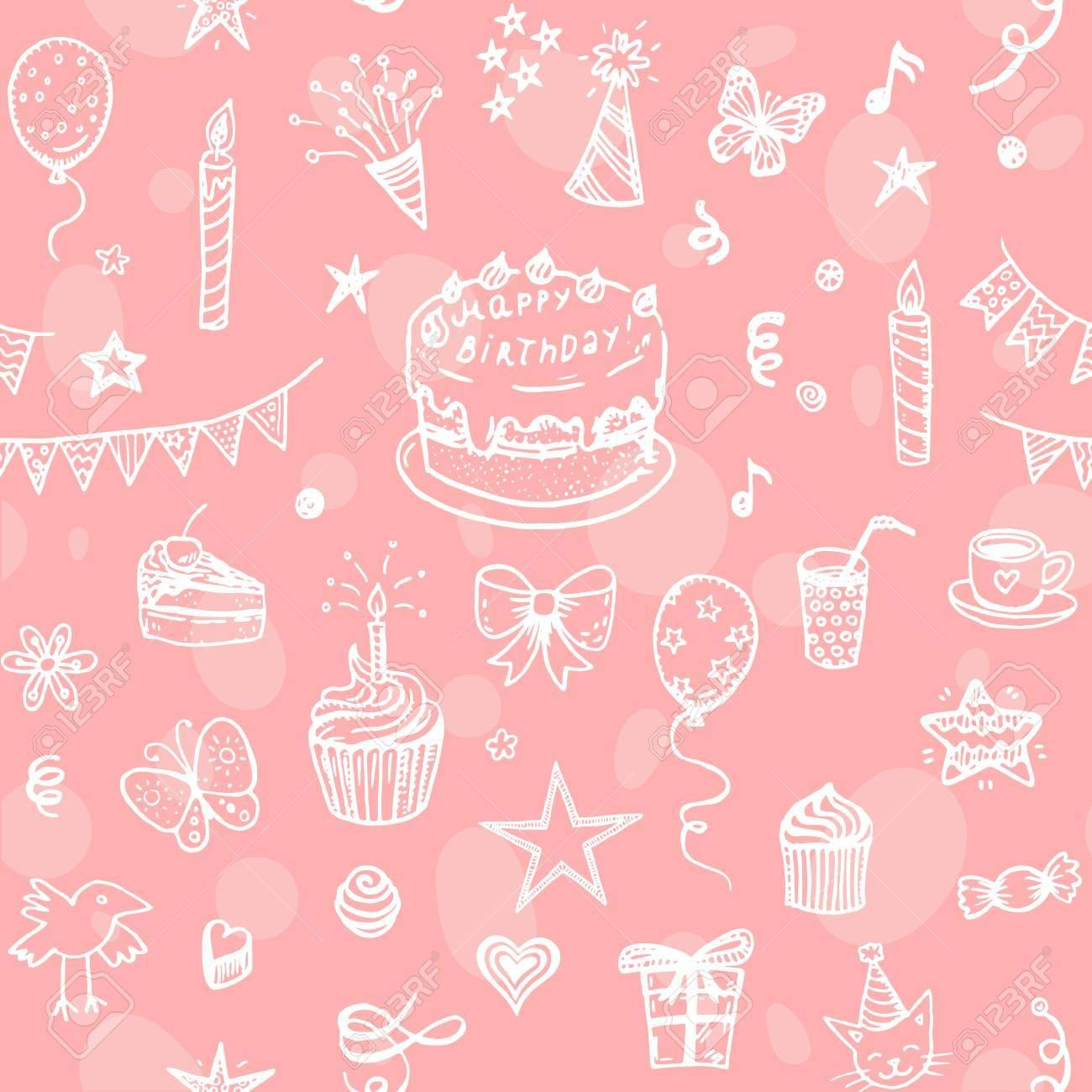 Happy Birthday seamless hand drawn background | Cure SFF | Pinterest ...