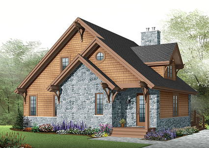 Country Rustic Cottage With 3 Bedrooms Basement House Plans Drummond House Plans Cottage House Plans
