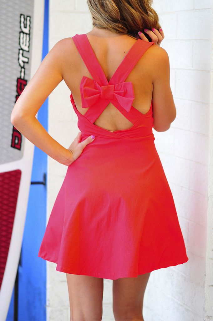 Bow Me Away Dress: Coral Red | Hope's
