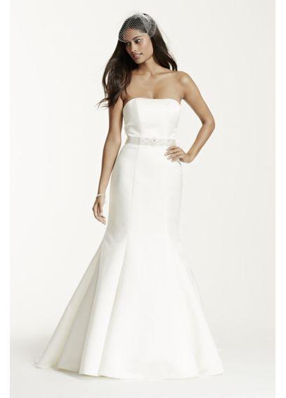 6cdaa216 Strapless Trumpet Wedding Dress with Ribbon Waist - Davids Bridal ...