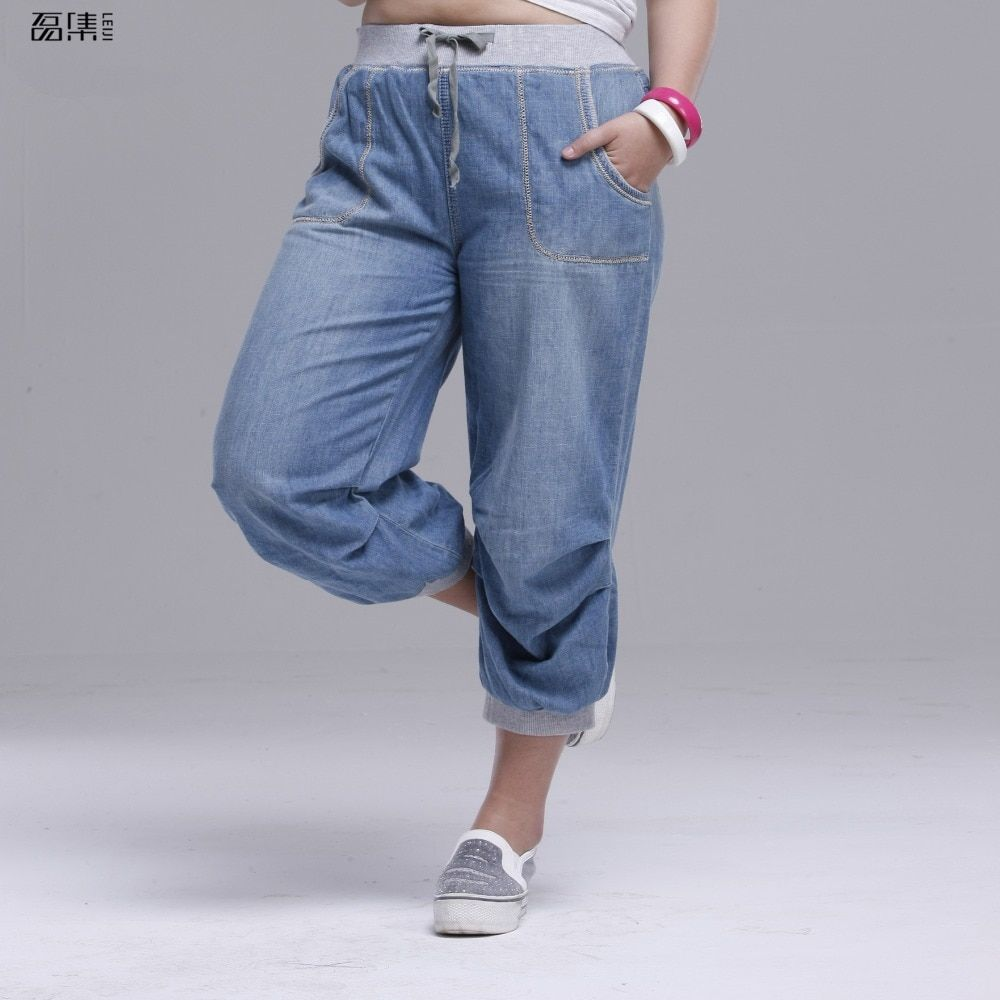 bf165ee35aa 2018 summer women jeans harem pants plus size loose trousers for women  denim pants Capris 6XL Price  37.80   FREE Shipping  sale  girls
