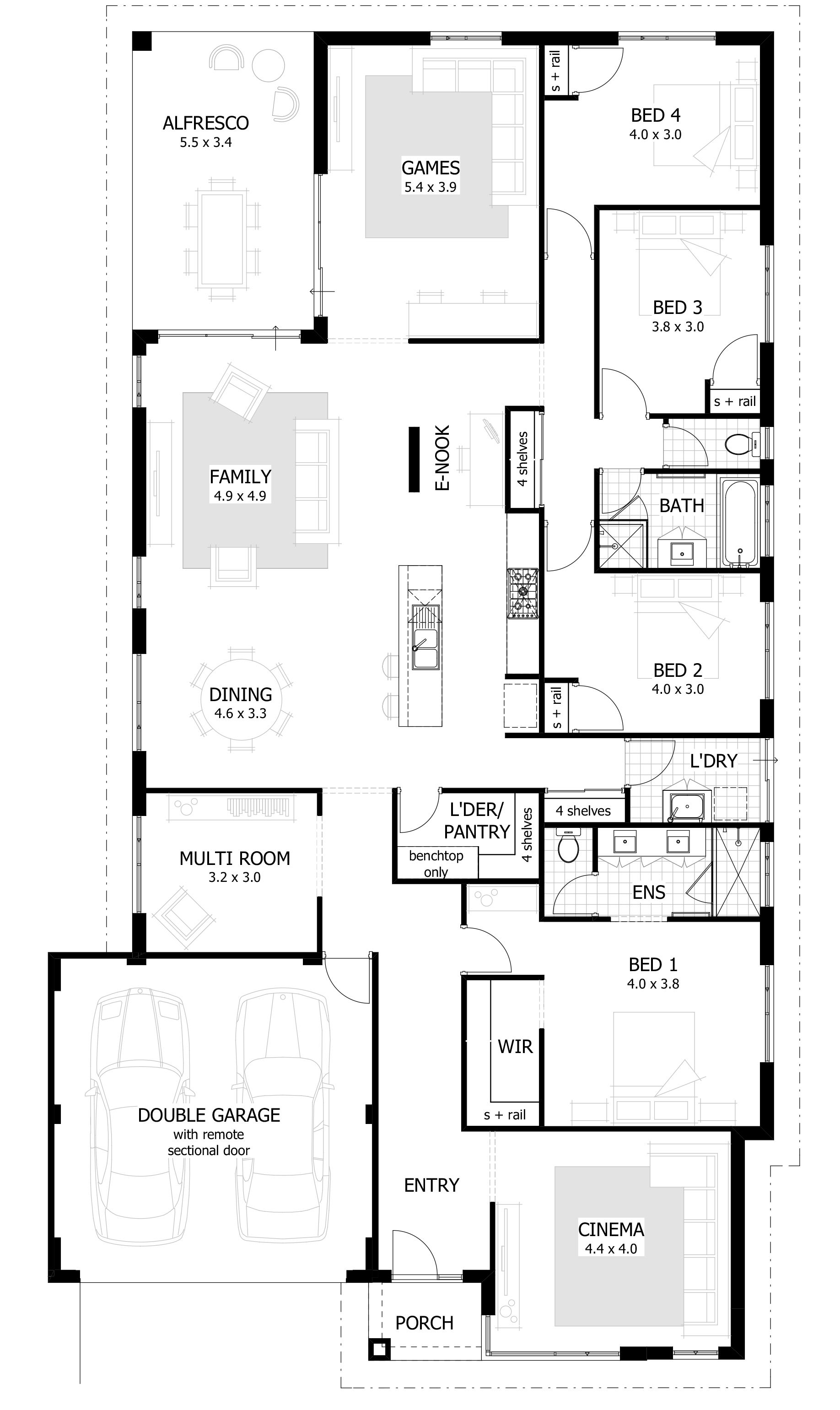 4 Bedroom House Plans Home Designs Narrow House Plans House Plans Australia Bedroom House Plans