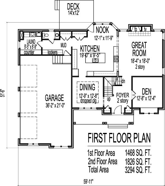 Arts and crafts two story 4 bath house plans 3000 sq ft w for 3000 square feet home plans