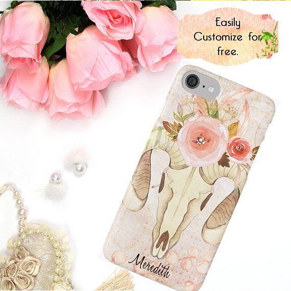 Pink Flowers iPhone Case Boho Watercolor Phone Case Custom