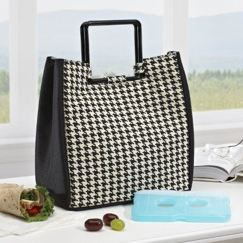 9586f17707 Fit   Fresh New Yorker Insulated Lunch Bag with Ice Pack - Black   White  Houndstooth