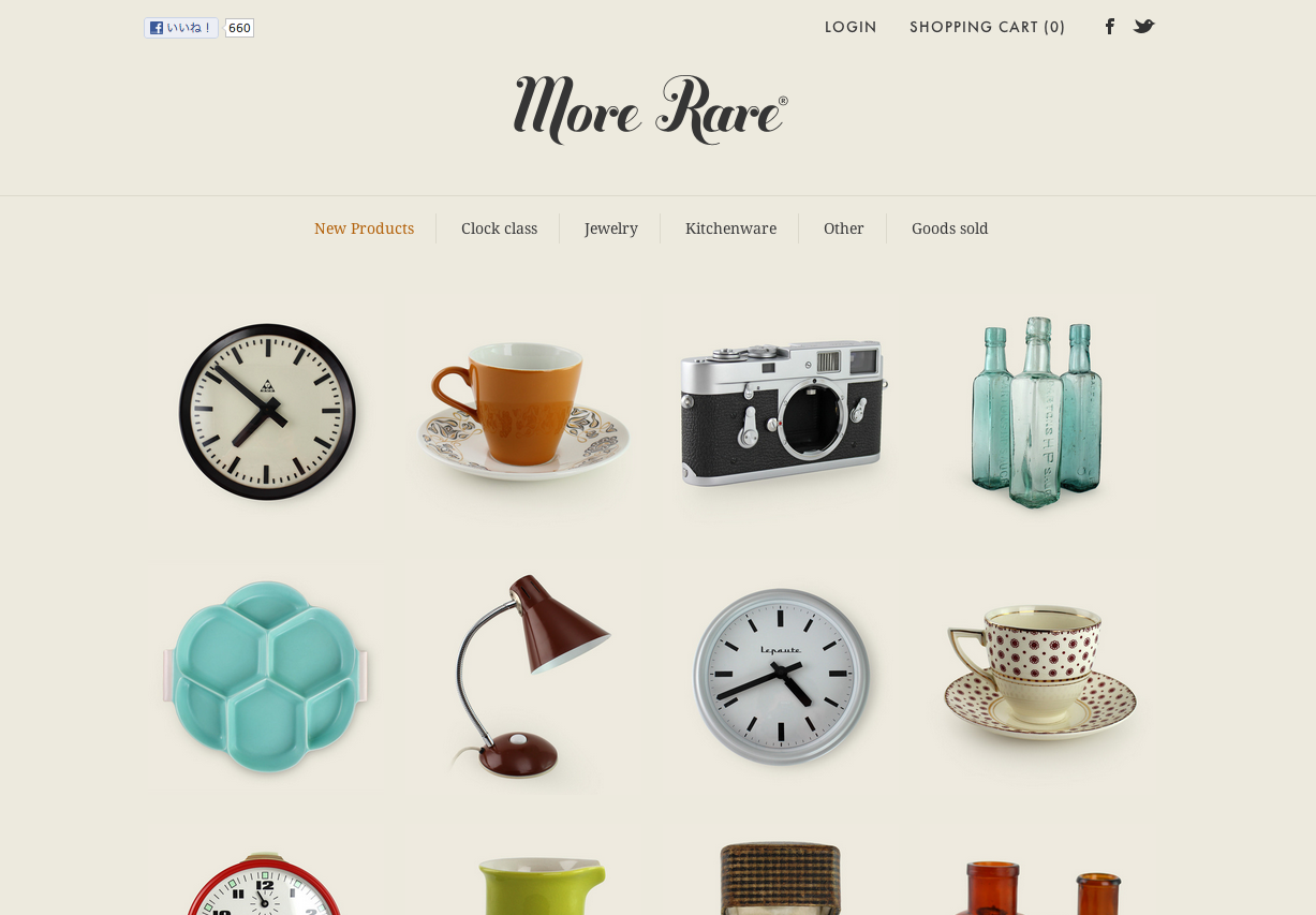 Nice vintage feel. Immaculate photography and great use of white space. Responsive too.   http://www.morerare.com/