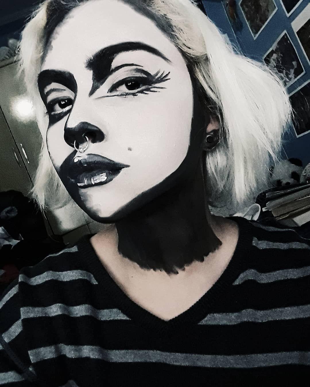 Black and white pop art halloween makeup in 2019 Black