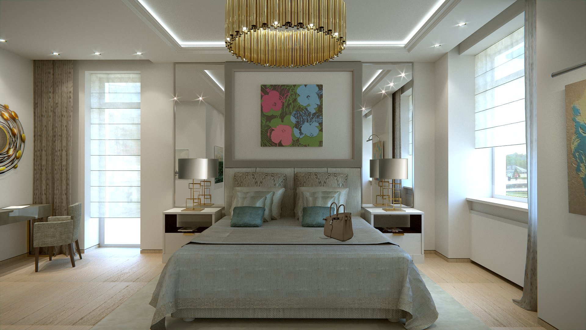 Luxury Bedroom ideas recessed ceiling with led light