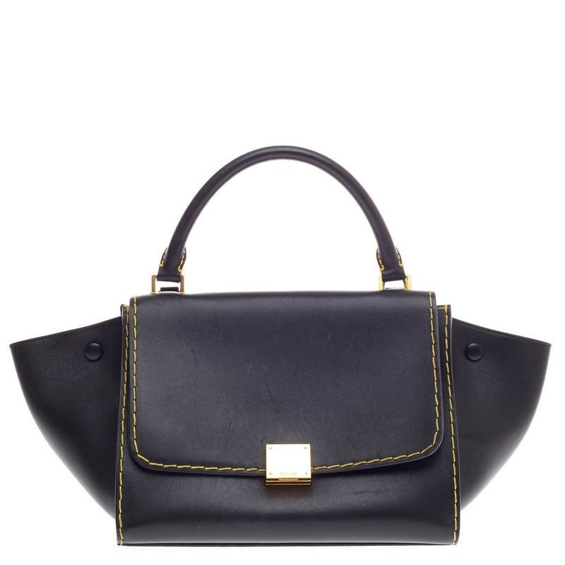 Celine Trapeze, in smooth, sleek black with stand out yellow contrast all-over stitching