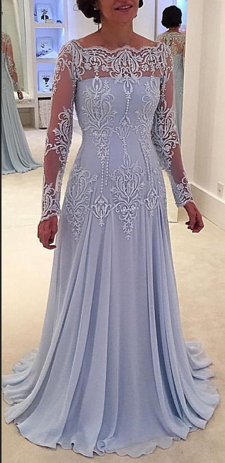 Lace Long-Sleeve Elegant A-line Mother-the-bride Dress | mother ...