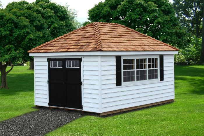 12x20 beaded vinyl hip roof garden shed with cedar shake roof