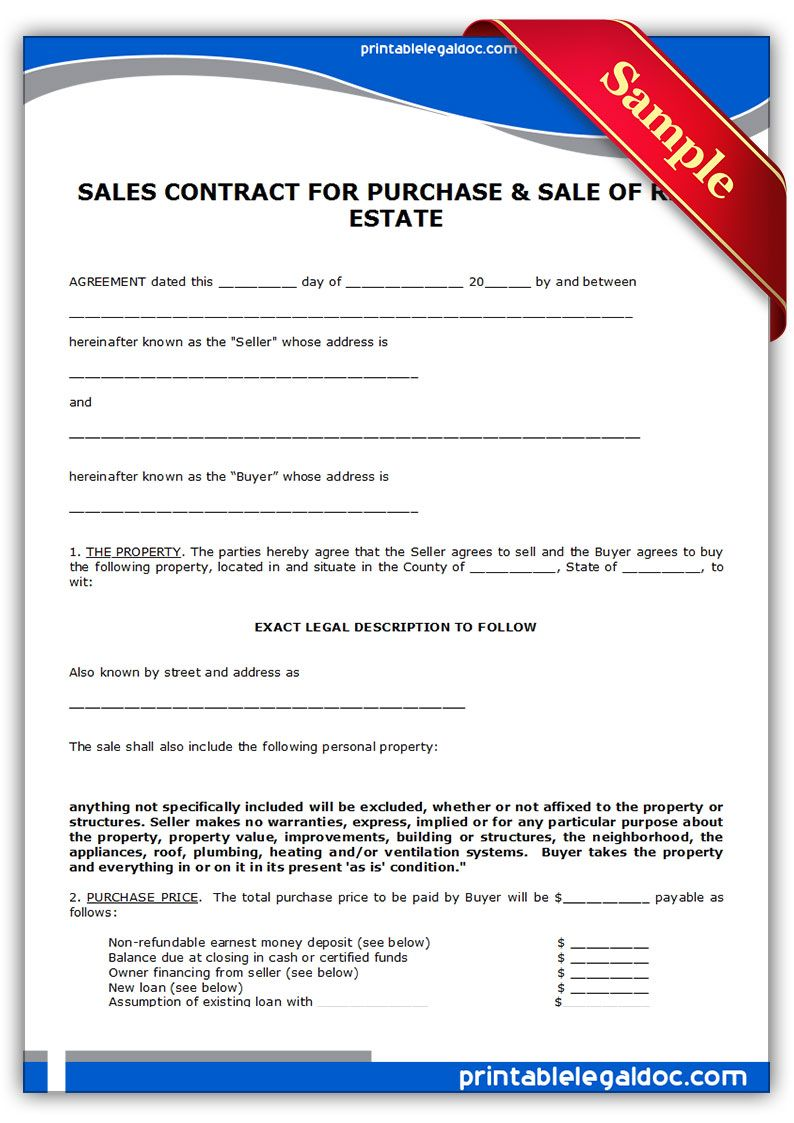 Printable Sample contract to sell on land contract Form | land ...