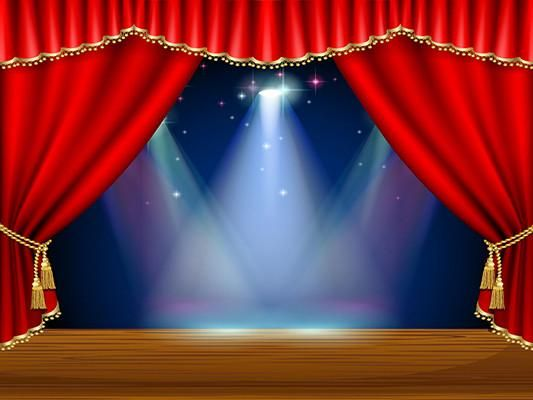 Kate Red Curtain Stage Blue Background Light Backdrop
