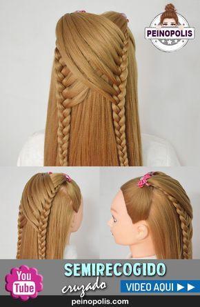 Peinados faciles y rapidos para niñas con trenzas cruzadas Peinado