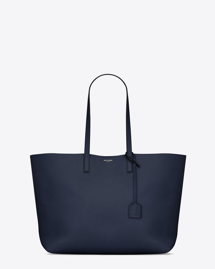 66d105d12ea SAINT LAURENT LARGE SHOPPING SAINT LAURENT TOTE BAG IN NAVY BLUE AND BLACK  LEATHER