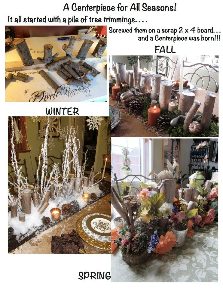 Tablescapes for all seasons from one pile of tree trimmings!