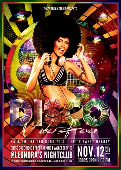 Disco Flyer Template PSD Design for Photoshop to customize DJ