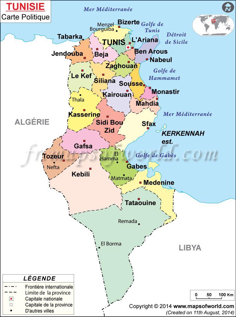 Tunisie Carte | Carte du Monde in 2019 | Tunisia map, Africa map ...
