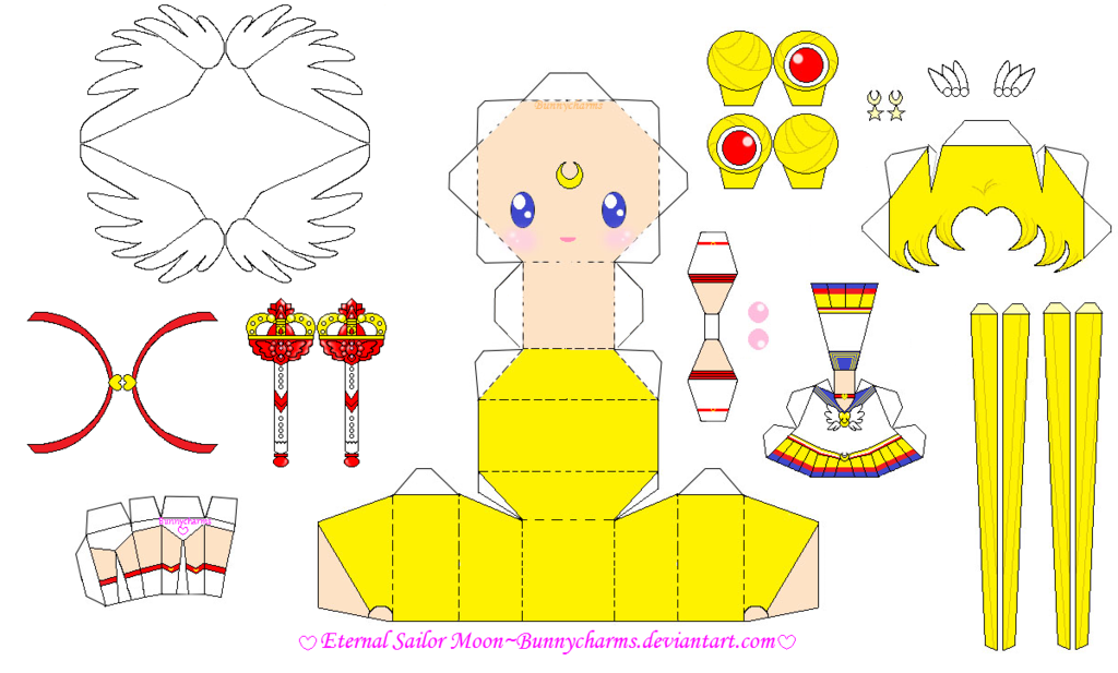 Eternal Sailor Moon Papercraft Template By Bunnycharms On